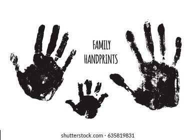 Family handprints illustration. Watercolor family handprints of mom, dad, and child. Social illustration.