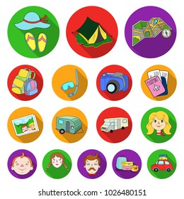 Family holiday flat icons in set collection for design. Recreation and equipment. bitmap symbol stock web illustration.