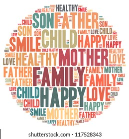 Family info-text graphics and arrangement concept on white background (word cloud)