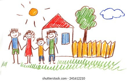 Family kids drawing
