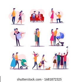 Family life cycle set. Man and woman dating, couple getting married, having baby, walking with children, getting old. People concept. illustration posters, presentation slides, web design