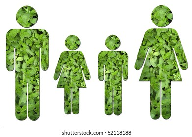 A family made up of green leaves to symbolize environmental issues.