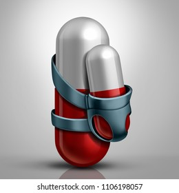 Family medicine or drug dependent baby health concept or healthcare for parents  as a mother or father pill with aan infant carrier holding a newborn capsule as a 3D illustration.