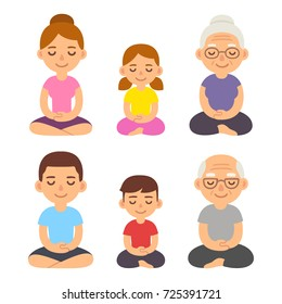 Family meditating sitting in lotus pose, children, adults and seniors. Cute cartoon meditation and mindfullness lifestyle illustration.