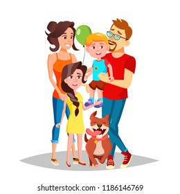 Family. Mom, Dad, Children Together. In Santa Hats. Full Family. Decoration Element Isolated Cartoon Illustration