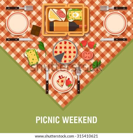 family picnic glade illustration food pastime stock illustration