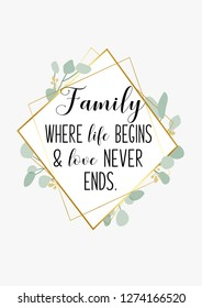 Family quote and saying typography