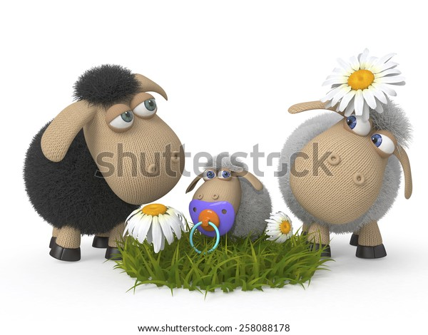 the family of sheep is grazed on a pasture/Family of lambs