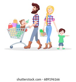 Family shopping banner. Hipster man and woman make purchases with kids cartoon flat illustration isolated on white background. Father and mother buying gifts on sale with son and daughter.