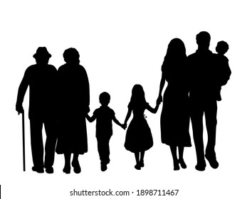 Family silhouettes grandparents father mother and three children from back. Illustration graphics icon vector