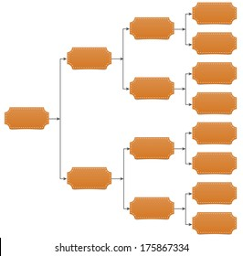 Family, team tree chart diagram with arrow line and shadow on white background.
