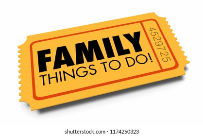 Family Things to Do Ticket Child Kid Friendly 3d Illustration
