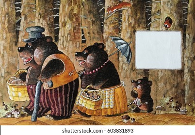 A family of three bears is walking through the forest, a children's illustration, a watercolor