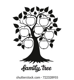 """Family tree. Apple tree silhouette and hand drawn calligraphy family tree"""". For home decoration, posters, cards, t shirts, wall stickers, coloring books. Typography illustration. Raster copy"""