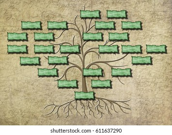 family tree illustration with empty shields