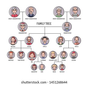 Family tree, pedigree or ancestry chart template. Cute men's and women's portraits in circular frames connected by lines. Links between relatives. Colorful illustration in lineart style
