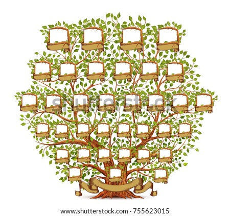 family tree template vintage illustrationのイラスト素材 755623015