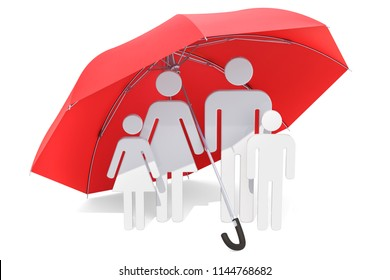 Family under umbrella. Healthcare and medical concept. 3D rendering isolated on white background