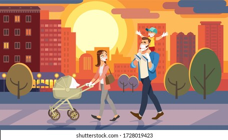 Family Walking with Baby Car at City Sunset. Father Holding Son on his Shoulders. Fun Lifestyle of Cartoon Characters at Cityscape Street. Masked People Due to Spread Coronavirus