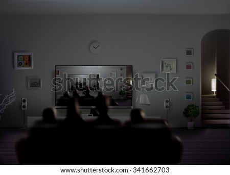 family watch themselves tv creating endless stock illustration