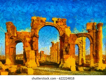 Famous arch of Palmyra, Syria oil painting