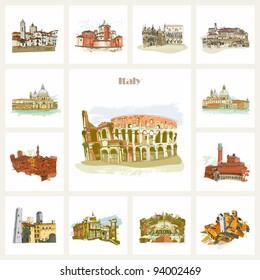 Famous cities in Italy. Rome, Venice, Bologna, Siena, San Gimignano, Verona.