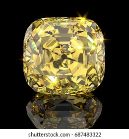 Famous cushion cut Tiffany Yellow diamond, close-up front view with reflection on black mirror background. 3D rendering illustration