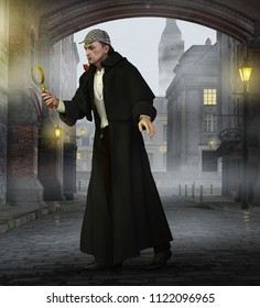 Famous English detective Sherlock Holmes investigates a crime in 19th century London, UK street. Wearing his classic wool cape coat, a deerstalker hat and smoking a calabash pipe. 3d render