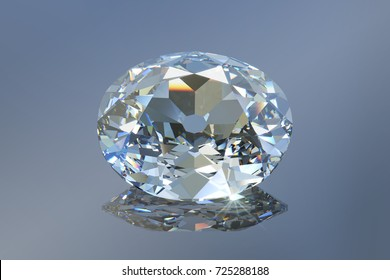 Famous historic Koh-I-Noor diamond, close-up view on light gray mirror background. 3D rendering illustration