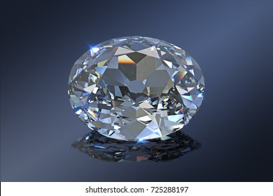 Famous historic Koh-I-Noor diamond, close-up view on dark gray mirror background. 3D rendering illustration