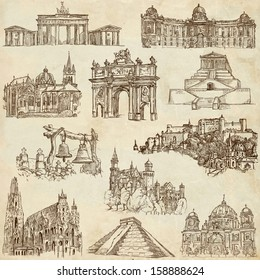 Famous places, buildings and architecture around the World (set no.4, paper) - Collection of an hand drawn illustrations. Description: Full sized hand drawn illustrations drawing on old paper.