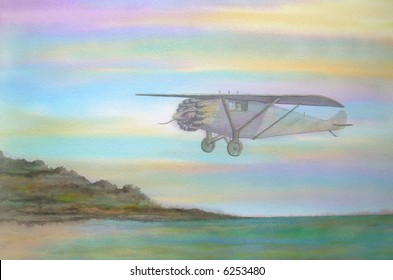 "Famous Spirit of Saint Louis Lindbergh Airplane, Descending over France # 95-034; 50x70 cm. - 20"" x 24"""