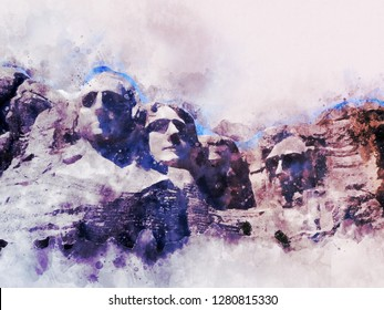 Famous statues in Rushmore National park in watercolor