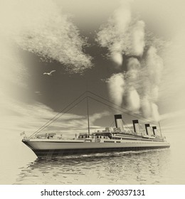 Famous Titanic ship floating among icebergs on the water by cloudy day, vintage style - 3D render