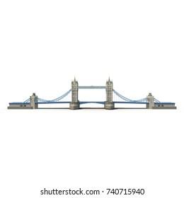 Famous Tower Bridge London, UK on white. Side view. 3D illustration