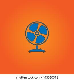 Fan Blue flat icon with black stroke on orange background.