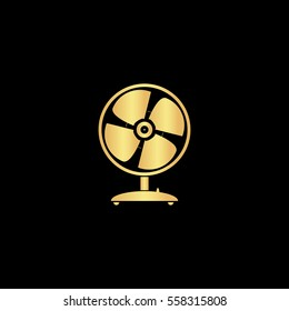 Fan Icon Illustration. Flat simple gold pictogram on black background