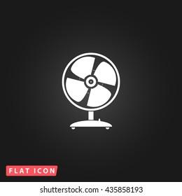 Fan White flat icon on dark background. Simple illustration pictogram
