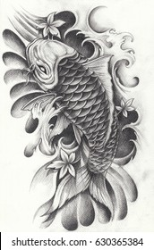 Fancy Carp tattoo.Hand pencil drawing on paper.