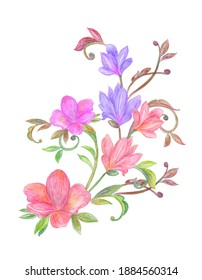 fancy floral ornament with abstract flowers and curly twigs. watercolor painting