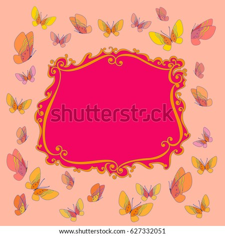 fancy frame funny butterfly border cartoon stock illustration