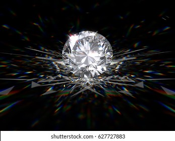 Fancy round brilliant cut diamond with sparkles, glare, caustics on black background, close-up view. 3D rendering illustration