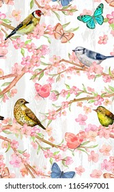fancy seamless pattern with birds on twigs of flowering cherry and butterflies. watercolor painting