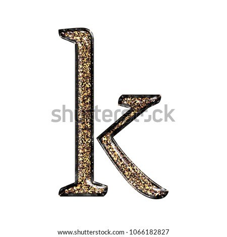 fancy sparkling glittery gold style lowercase or small letter k in a 3d illustration with a