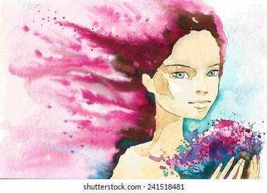 fancy watercolor illustration, portrait woman