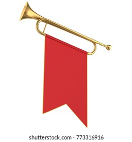 Fanfare. Trumpet with red flag. 3d illustration