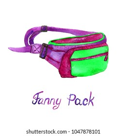 Fanny (Belt) Pack type of bag in green, purple, red colors palette, hand painted watercolor illustration with handwritten inscription isolated on white background