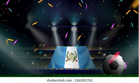 Fans hold the flag of Guatemala among silhouette of crowd audience in soccer stadium with confetti to celebrate football game. Concept design for football result template