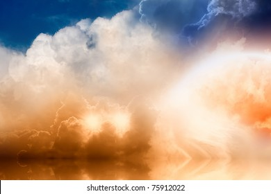 Fantastic background - bright rainbow and two stars in cloudy sky with reflection in ocean