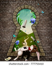 Fantastic bizarre fabulous keyhole  with the white rabbit  in  whimsical garden fairy tale Wonderland.